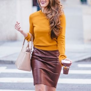 Brown pencil vegan leather skirt